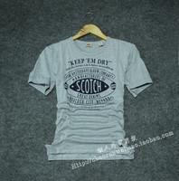 Soda scotch soda sewing machine male o-neck slim water wash short-sleeve T-shirt basic shirt