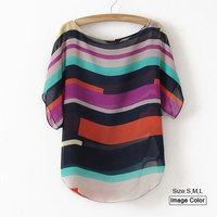 HZA068 Brand New Fashion Women Elegant multicolor Striped Print Shirts O-neck Short Sleeve Slim Plus Size Casual Tops S-XXXL