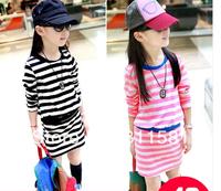 Girls Dresses Spring 2014 European and American Fan trendy stripes hit the color package hip skirt long-sleeved dress vest