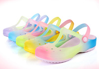2014 new 100%  orginal MELOS spring summer Gradient rainbow hole eva Women beach jelly TPU clogs shoes sansals
