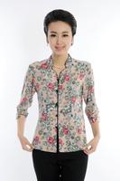 Women's  2014 Slim Summer Retro Blouse  short-sleeve Cardigan Shirt Plus Size