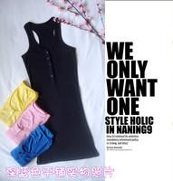 Top 2014 Sexy Girls Simple Design Tops Vest Mini Dress Botton Round Neck Casual