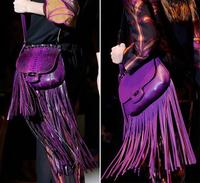 Women female tassel fringe real leather handbag shoulder bags bag tote