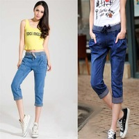 Free shipping! fashion summer women capris loose shorts denim pants ladies harem jeans cuffs with elastic belt plus size 9185#