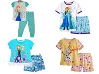 New Arrival 2014 Frozen Elsa&Anna Pajama Set Princess Clothing Sets 4-13 Age Kids Clothing Snow Queen Children Nightie/Pyjamas