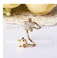 Hot sale no pierced ear clip fashion crystal pentagram ear cuff flash drilling star earrings for women 2015 New jewelry LM-C297