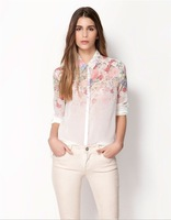 2014 New Fashion Women Lapel Flower Print Long Sleeve Chiffon Blouses Female Laple Female Spring Shirt