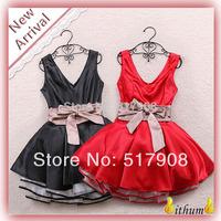 New 2014 sexy dress Bow Belt Summer dress women Sweet Lapel Waist Sleeveless Dress Gauze Tutu dresses