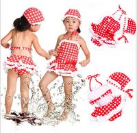 Little Girls Cute Red grid  one-piece Swimsuit for  2-7 Yearskids Swimwear  free shipping