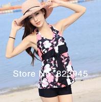 new 2014 swimsuit hot springs women's print tankinis set  summer swimsuit dress puls size tankinis set
