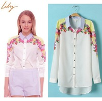 Spring 2014 New fashion Lapel Flowers Print Long Sleeve Chiffon Shirt Women Blouses Laple Female Clothing