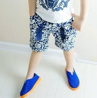 2014 New Arrive Boys Blue And White Printed Shorts Pants Kids Summer Trousers Fit 2-6Yrs 5 PCS / LOT Free Shipping