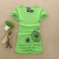 2014 New Fashion Women Big Size T Shirts 100% Cotton Printed Lady Bike T-Shirts Female Tops Tee