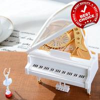 Ballerina girls piano music box ballet rotating musical box, for elise wedding souvenir gifts, valentine's gift, free shipping