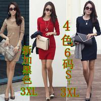 Spring Autumn 2014 Women Korean long-sleeved dress bottoming patchwork wrinkle OL Slim thin dress plus size 3XL