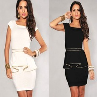 2014 New Women's Clothing Dresses, fashion style, solid lotus leaf dress Free Shipping! C-1120