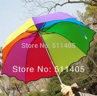 Top Quality sun protection  Rainbow umbrella  falbala  three-folding  sunny and rainy amphibious umbrella women umbrella