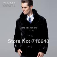 Sheepskin wool one piece genuine leather male mink clothing male leather coat fur leather jacket