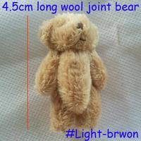 Wholesale 100pcs/lot 4.5cm Cartoon Long Wool Mini Joint Bear Bare Teddy Bear For Key/Phone/Bag Plush Dolls #Light-brown