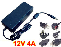 DC 12V 4A power supply AC 100-240V 48W power supply power adapter DC port (5.5*2.1 or 5.5*2.5 ) with power plug cord 10pcs/lot