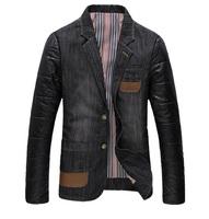 2014 new arrival fashion cotton male suit coats style korean slim denim blazer casual jacket for men Stitching jacket