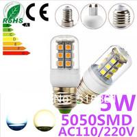 E27-5050SMD-27LED+Free Shipping+LED Corn Light Bulbs Lamps E27 B22 G9 110V 220V 5W Warm /Cool White Home Lighting
