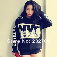 2014 spring women's trend personality digital nyc HARAJUKU loose fleece sweatshirt clothes