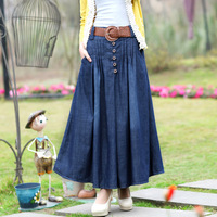 Hot-Selling ! Spring  New 2015 Thin  Denim Skirt , Summer Plus Size all-match Pleated Long Skirts + Belt Womens Korean Style