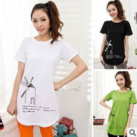New summer casual t-shirt big yards long section of loose primer shirt round neck short sleeve T-shirt 117 M-XXL