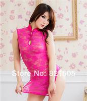Free shipping Chinese cheongsam sexy Costumes Uniform Sexy lingerie Chemises thongs Sleepwear underwear for women