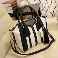 New 2014 Korean women messenger bags  retro fashion bag black white fringed shoulder bag diagonal notebook women handbag
