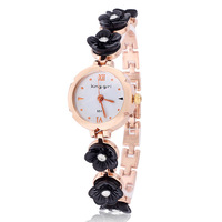 2014 Rose gold plated dropship hot sale quartz flower fashion designer analog rhinestones wristwatch alloy ladies bracelet watch