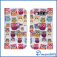 New Fashion Colorful Cute Owl And Purple Bird Luxury Leather Case Cover Skin For Samsung Galaxy S3 I9300