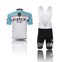 2014! Free shipping+Breathable+pad coolmax+white BIANCHI Bike apparel/Clothes bike Cycling wear/Cycling Jersey+BIB SHORTS SETS