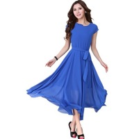 Summer Plus Size Dress Women Clothing,Free Shipping,Korean Fat MM Korean Gentlewomen Solid Color Slim Thin Chiffon Long Dresses