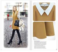 New spring 2014 European and American big doll collar loose chiffon summer dress casual  Women clothing