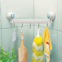 Free Shipping 1 pcs Retail  Suction Wall Five Linked Hook For Bathroom Storage Tool