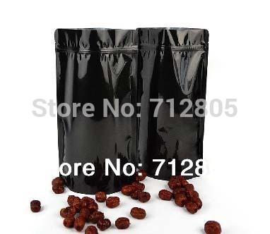 Wholessale 100pcs/lot 18x30cm+5cm Black Metallic Stand Up ZipLock Bag Reclosable Aluminum Foil Zipper Bag Free Shipping(China (Mainland))