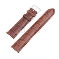 22mm PU Leather Stitch Wristwatch Band Strap Watchband Brown