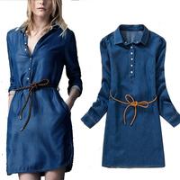 2014 fashion women summer spring turn-down collar long sleeve vintage denim casual dress  retro blue jeans dress vestidos
