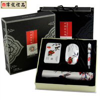 Chinese style silk mouse pad set unique commercial conference gifts