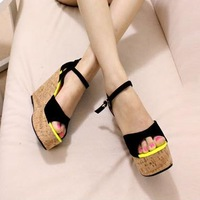 The new summer 2014 Roman sandals wedge fish mouth Color matching large base platform shoes Ultra high with casual shoes
