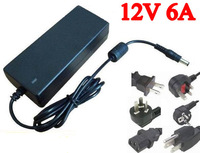 DC 12V 6A power supply AC 100-240V 72W power supply power adapter DC port (5.5*2.1 or 5.5*2.5 ) with power plug cord 10pcs/lot