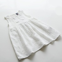 New! Wholesale Summer  White Soft Sweet Cute Baby Dress Casual Children Girl Dress with Lace  Kids Dress 100cm-140cm