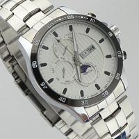 Brand Fashion Champagne white Quartz men's sport Wristwatches, boys sports Stainless Steel watch, mans waterproof Calendar watch