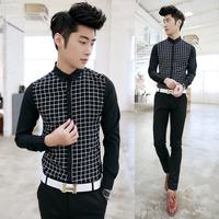 2014 spring mens casual long-sleeve shirt 601cs23p55