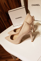 Free shipping 2014 summer all-match fashion sexy nude color high-heeled shoes genuine leather pointed toe bow high-heeled shoes