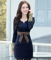 New 2014 women winter dress high quality slim vest sleeveless woolen dresses for lady with bow  tank dress B097