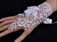 Noble and romantic flower mesh lace long gloves wrist ornaments vintage bridal gown party show