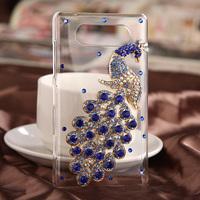 For Nokia Lumia 820 mobile phone crystal case - Blue Peacock